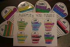 Pattern Mittens.  I like this teacher's recording sheets to go along with her activities.  Makes independent work successful.  This activity in smaller doses for preschoolers but perfect for Kindergarten!