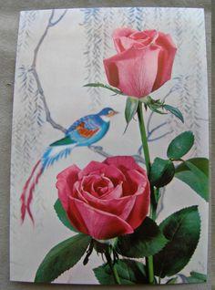 REAL VINTAGE POSTCARD NOS FLOWERS ROSES 3$