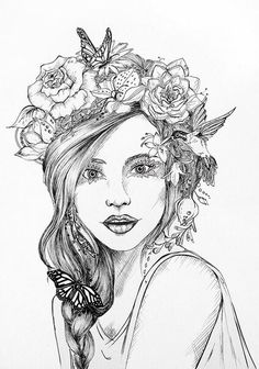 Flower crown art pinterest flower crowns flower and for Flower crown coloring page
