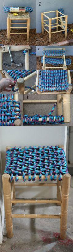 Un tabouret tissé remis à neuf.  15 Idées DIY super cool de relookings de tabourets