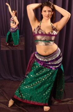e7d2b44a991 Original Designs on Custom made Bellydance costume Sari panel skirt and  choli with used sari Belly
