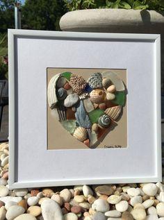 Al mar corazón mosaico arte en vidrio mar por SeasTheDaySeaGlassCo