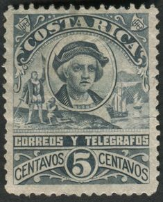 Costa Rica #NE1 (1892 NON-EMIS-not issued)* Christopher Columbus.   Engraved by August Gast Banknote Co. (St. Louis) in panes of 100. Perf. 12. (50,000 printed).  *COSTA RICA POSTAL CATALOGUE (2004) by Hector R. Mena (Society for Costa Rica Collectors).