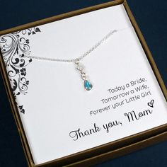 Mother of the Bride or Groom Gift - Gem Drop Necklace, Sterling Silver