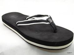 "REEF US 10 WOMEN'S BLACK WHITE 1"" TALL NYLON FLIP FLOPS USED NICE LAUNDERED"