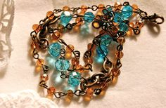 Amber and Turquoise Glass Bead Handmade by PoppiLinnStudios, $18.00