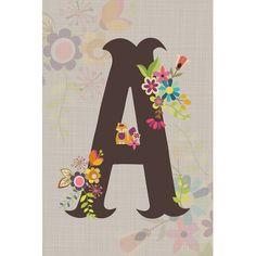 """East Urban Home 'Floral Alphabet Series' Canvas Art Size: 26"""" H x 18"""" W x 0.75"""" D, Letter: K"""