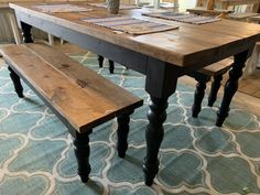 Rustic Farmhouse Table Set with Turned Legs,Two Benches, Provincial Brown Top an. Rustic Farmhouse Table Set with Turned Legs,Two Benches, Provincial Brown Top and Black Painted Ba Farmhouse Table With Bench, Rustic Console Tables, Farmhouse Kitchen Tables, Wooden Dining Tables, Dining Room Table, A Table, Dining Set, Farm Tables, Black Kitchen Tables
