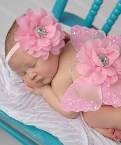 Love this Nest Of Many Colors Pink Glitter & Glam Flower Headband & Wing Set by Nest Of Many Colors on #zulily! #zulilyfinds