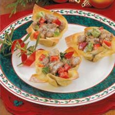 Sausage Wonton Stars.  They're really yummy and easy to put together.  This is one of my go-to recipes.
