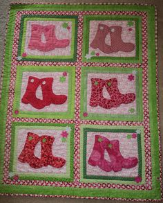 PINK RAINBOOTS   Crib Size Quilt  Machine Appliqué,  Free Motion and Walking Foot Quilted.  QUILTS BY MARISELA.