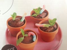 party idea for kids. Chocolate cake, some mint leaves and a candy worm.