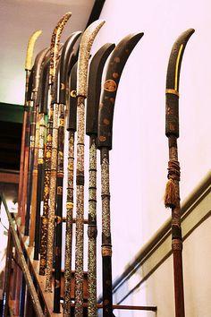 A row of naginata http://www.ninjutsumelbourne.com.au/