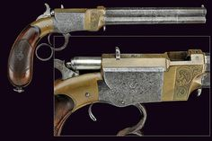 Engraved Volcanic (Smith & Wesson) Repeating lever-action pistol.