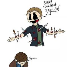 """I can so see Demon Dean doing this. Sam, Cas and even Crowley would be like, """"Really Dean?"""" xD"""