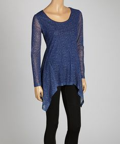 29.99 This Blue Scoop Neck Sidetail Tunic by eci New York is perfect! #zulilyfinds