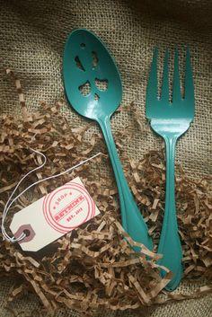 Turquoise Powder Coated Silverware  2pc by ShopRethink on Etsy, $24.00