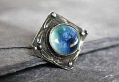 Costume Antique Arts & Crafts Pewter Square Brooch Turquoise Ruskin High Fired Cabochon To Have A Long Historical Standing