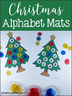 Alphabet Christmas Tree Mats are a free printable in Uppercase and Lowercase that will help preschool children match and recognize letters.