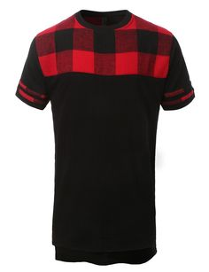 Keep up with the latest urban fashion in this hipster hip hop front plaid crewneck t-shirt Crafted from a lightweight and soft cotton material for all day comfort. Pair this tee with jeans for a daily
