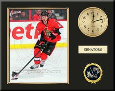One 8 x 10 inch Ottawa Senators photo of Erik Karlsson inserted in a gold slide-in frame and mounted on a 12 x 15 inch solid black finish plaque.  Also features a 3-inch Arabian gold-faced clock, a customizable nameplate* and a 2-inch hockey medallion with a gold base. $59.99   @ ArtandMore.com