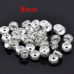 8MM Metal Silver Plated Crystal Rhinestone Rondelle Spacer Beads 11Colors For Choose 100Pcs Free Shipping (w03270-w03281)