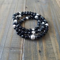 $35 - Triple Wrap Beaded Stretch Bracelet  Black Onyx & Silver