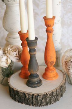 Thanksgiving Home Decor Fall Harvest Candle Stick Holders Rustic Chic Distressed Wood Set of 3. $29,99, via Etsy.
