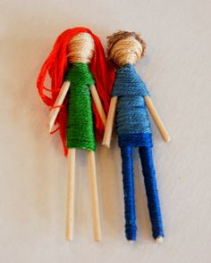 Craft for girls ...dolls with toothpicks and embroidery floss
