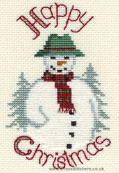 Snowman Christmas Greetings Card Cross Stitch Kit from Derwentwater Designs