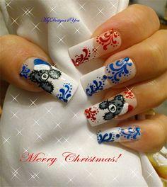Cute Christmas Teddy Bear Nails - Nail Art Gallery by www.nailsmag.com #nailart