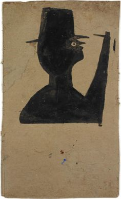 Bill Traylor - Man with Stick (Pipe), c. 1939-42 offered by Just Folk on InCollect