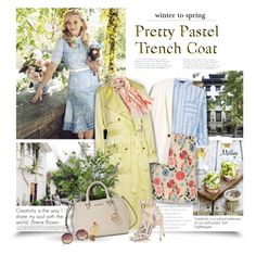 """""""Pretty Pastel Trench Coat"""" by thewondersoffashion ❤ liked on Polyvore featuring Manoush, Mulberry, Michael Lo Sordo, Chico's, Diane James, Michael Kors, Daniele Michetti, Linda Farrow, Shinola and women's clothing"""
