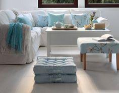 Salon w kolorach blue&white Pastel Living Room, Pastel Interior, Baby Blue, Ikea, Ottoman, Blue And White, Cushions, Throw Pillows, Chair