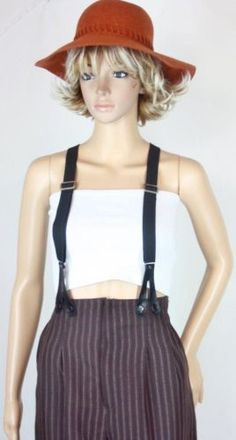 High waist stripped pants with braces