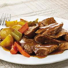 Fill your kitchen with savory aromas from this easy slow cooker dinner recipe, which uses chuck or rump roast.