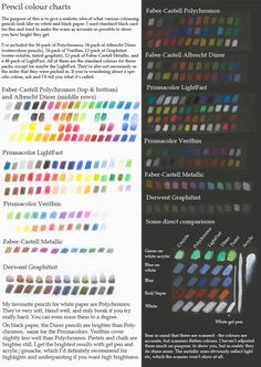 This is a chart to show and compare all the colouring pencils I have (minus the Crayola), especially on black paper. I've tried to get the colours as accurate as possible. I should add that the Der...