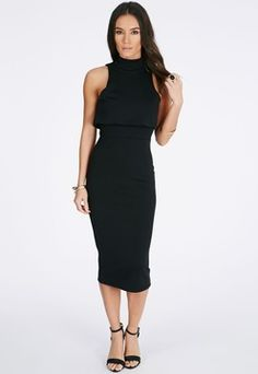 Missguided Antosia High Neck Midi Dress In Black Sleek and sophisticated, this is a chic LBD perfect for this season's parties.