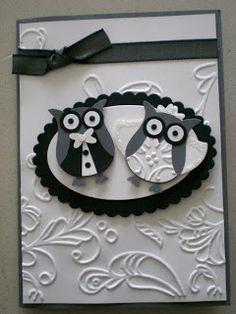 Maria Kandylas of Paperbug Designs: 2 Step Owl Punch wedding card