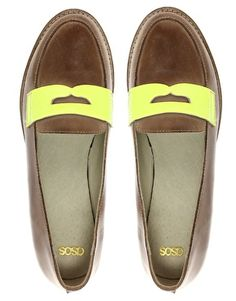 ASOS mecca leather loafer with neon flash