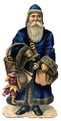 Vintage Christmas Graphic - Old World Santa in Blue Coat - The Graphics Fairy