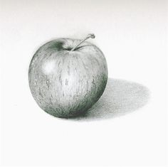 Pencil Drawing Techniques This pencil drawing of an apple shows form. It shows form because it makes the apple look It looks like it actually has an actual spherical shape instead of just being 2 dementional. Apple Sketch, Fruit Sketch, Still Life Drawing, Still Life Art, Graphite Drawings, 3d Drawings, Pencil Drawings Of Nature, Pencil Shading, Pencil Art