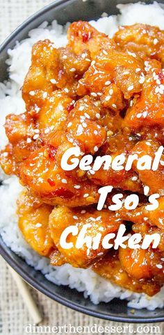 Chicken is a favorite Chinese food takeout choice that is sweet and slightly spicy with a kick from garlic and ginger.General Tso's Chicken is a favorite Chinese food takeout choice that is sweet and slightly spicy with a kick from garlic and ginger. Tso Chicken, Chinese Chicken Recipes, Easy Chinese Food Recipes, Good Chinese Food, Easy Asian Recipes, Eat This, Desserts Nutella, Food Court, Asian Cooking