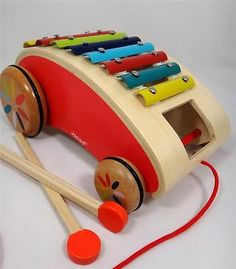 """Janod Xylo Roller """"Tatoo"""" Pull-Along Xylophone for Preschoolers"""