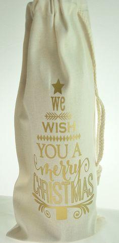 We Wish You A Merry Christmas Muslin Wine Bottle by JuliesHeart