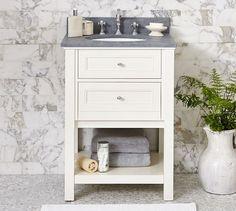 Classic Mini Sink Console - White with Pietra Cardosa Slate | Pottery Barn