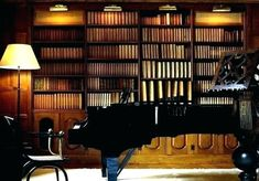 Home studio music design bookshelves 43 Ideas Library Study Room, Future Library, Music Library, Cozy Library, Dream Library, Library Ideas, Home Studio Musik, Bookshelf Lighting, Library Lighting