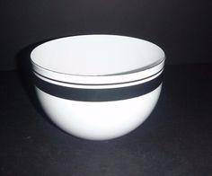 Vintage mid Century Finel Arabia Finland Enamel Bowl Stripe