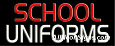 """School Uniforms Neon Sign-10289  13"""" Wide x 32"""" Tall x 3"""" Deep  110 volt U.L. 2161 transformers  Cool, Quiet, Energy Efficient  Hardware & chain are included  6' Power cord  For indoor use only  1 Year Warranty/electrical components  1 Year Warranty/standard transformers."""