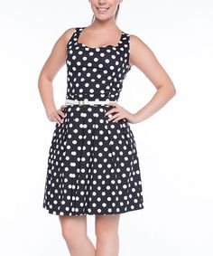 @mamawright1    Look what I found on #zulily! Black & White Polka Dot A-Line Dress #zulilyfinds